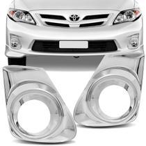 Par Aplique Cromado Aro Moldura Farol de Milha Toyota Corolla 2012 a 2014 Auxiliar Neblina - Nk Brasil