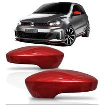 PAR Aplique Vermelho Retrovisor VW Volkswagen Gol G6 15 16 17 18 com Furo para SETA - Shekparts