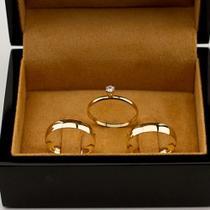 Par de Alianças de Moeda Antiga Banhadas em Ouro 18K Casamento 6mm S\Anel solitario - network joias
