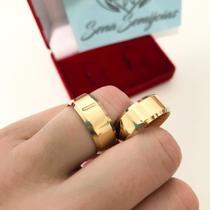 Par de alianças Feito em Tungstênio 8mm Banhada a ouro 18k - network joias