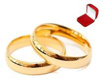 Par De Alianças Ouro 18k Banhada Casamento 4mm - Euro Importados