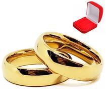 Par De Alianças Ouro 18k Banhada Tradicional Tungstênio 6mm - Jewelery