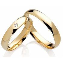 Par de Alianças Ouro 18k com Diamante 3mm AN20003,00 - Testebrunelli