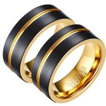 Par De Alianças Tungstênio Ouro Namoro Compromisso Fio Ouro 8mm - Jewelery