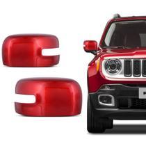 Par de Aplique Retrovisor Jeep Renegade 2017 a 2019 Vermelho - Prime