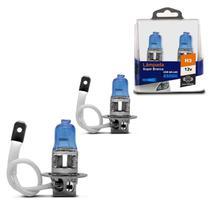 Par de Lâmpadas Super Branca H3 8500K 55W 12V Efeito Xênon Aplicação Farol Carro - Shocklight
