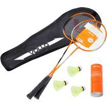 Par de Raquetes Badminton + 3 Petecas e Bolsa para Transporte  Vollo Sports -