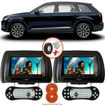 Par de Tela Encosto de Cabeça 7 Polegadas Preto DVD USB SD Função Game com Controle AUDI Q7 - Tech One