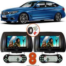 Par de Tela Encosto de Cabeça 7 Polegadas Preto DVD USB SD Função Game com Controle BMW SERIE 3 - Tech One