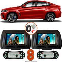 Par de Tela Encosto de Cabeça 7 Polegadas Preto DVD USB SD Função Game com Controle BMW X6 M - Tech One