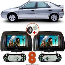 Par de Tela Encosto de Cabeça 7 Polegadas Preto DVD USB SD Função Game com Controle CITROEN XANTIA - Tech One
