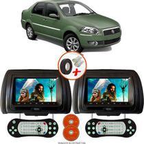 Par de Tela Encosto de Cabeça 7 Polegadas Preto DVD USB SD Função Game com Controle FIAT SIENA - Tech One