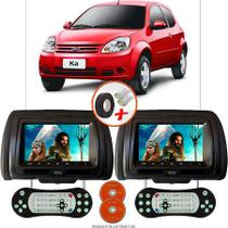 Par de Tela Encosto de Cabeça 7 Polegadas Preto DVD USB SD Função Game com Controle FORD KÁ HATCH - Tech One