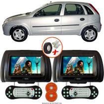 Par de Tela Encosto de Cabeça 7 Polegadas Preto DVD USB SD Função Game com Controle GM CORSA HATCH - Tech One