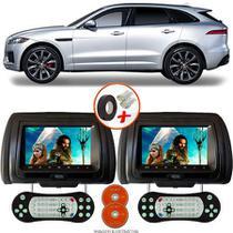 Par de Tela Encosto de Cabeça 7 Polegadas Preto DVD USB SD Função Game com Controle JAGUAR F PACE SUV - Tech One