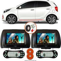 Par de Tela Encosto de Cabeça 7 Polegadas Preto DVD USB SD Função Game com Controle KIA PICANTO GT - Tech One