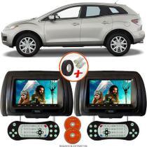 Par de Tela Encosto de Cabeça 7 Polegadas Preto DVD USB SD Função Game com Controle MAZDA CX7 - Tech One