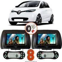 Par de Tela Encosto de Cabeça 7 Polegadas Preto DVD USB SD Função Game com Controle RENAULT ZOE - Tech One