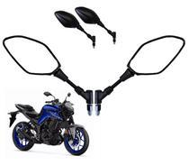 Par Espelho Retrovisor Preto Moto Rena Giro 360 Retrátil Mt 03 07 09 Tenere Haste Normal Rosca Yamaha - 4325 - Renascença