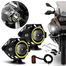 Par Farol de Milha LED Moto Universal Angel Eyes U7 6000K 20W Luz Branca Farol Alto Baixo Neblina - Prime