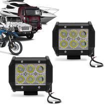 Par Farol de Milha Quadrado Universal 6 LEDs 6000K Carro Moto Caminhão Jeep - Kit Prime