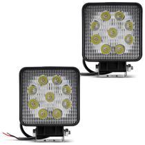 Par Farol de Milha Quadrado Universal 9 LEDs 6000K 27W Branco Carro Caminhão Jeep - Kit Prime