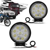 Par Farol de Milha Redondo Universal 9 LEDs 6000K 27W Branco Carro Moto Caminhão Jeep - Kit prime