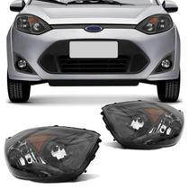 Par Farol Ford Fiesta Hatch Sedan 2011 2012 2013 2014 Máscara Negra Foco Duplo Pisca Embutido - Kit Prime