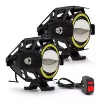 Par Farol Led Angel Eye Auxiliar Neblina Moto U7 + 1 Botao - Golden yata