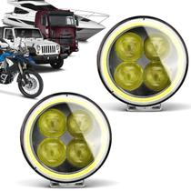 Par Farol Milha LED Carro Moto Jeep Off Road 4x3W 12W Angel Eyes Flash Universal Redondo Preto - Prime