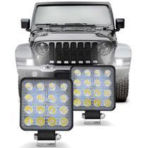 Par Farol Milha Universal Quadrado 16 LEDs 48W 12V 6000K Carro Moto Caminhão Jeep Auxiliar Off-Road - Prime