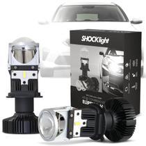 Par Lâmpada de LED Farol H4 Mini Projetor Canhão Eliptico 6500K 12V 5200 Lúmens Shocklight -