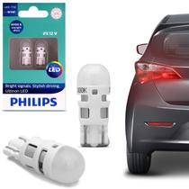 Par Lâmpada Philips Pingo T10 LED Vision 6000K Luz Branca Lanterna Placa -