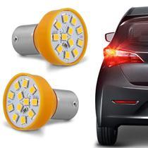 Par Lâmpadas 12 LEDs 1 Polo Trava Reta 21W 12V Luz Laranja Aplicação Pisca Seta - Autopoli
