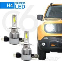 Par Lâmpadas Automotiva H4 Super Led C6 Cooler 6000k 7200 Lumens Full Branca - Jr