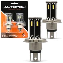 Par Lâmpadas H4 21 LEDs 6500K 12V 24V Luz Branca Farol Baixo e Alto Carro Moto e Caminhão Autopoli -
