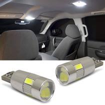 Par Lâmpadas LED T10 W5W Pingo Canbus 6 LEDs 6000K 400LM Luz Branca Placa Teto Porta-Malas Lanterna - Shocklight