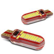 Par Lâmpadas LED T10 W5W Pingo Torre 24 LEDs 5,5W 12V Silicone Luz Branca - Mixcom