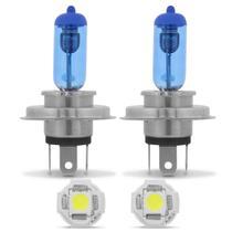 Par Lâmpadas Super Branca H4 4200K Efeito Xenon + Par Lâmpadas Pingo T10 5 LEDs - Kit iluminação