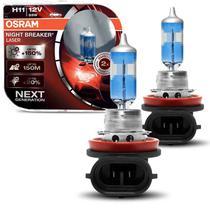 Par Lâmpadas Super Branca Osram Night Breaker Laser H11 3900K 55W 12V Luz Branca Aplicação Farol -