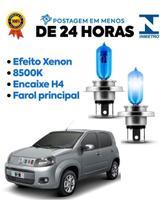 Par Lampadas Super Brancas Farol Fiat Uno Vivace 2011 2012 2013 2014 2015 8500k H4 - Tiger