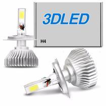 Par Lâmpadas Super LED 3D Headlight H4 6000K 12V 50W 4500LM Efeito Xênon Carro Moto - Shocklight