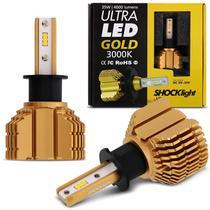 Par Lâmpadas Ultra LED Gold H3 3000K 12V 24V 35W 8000LM Luz Amarela Aplicação Farol Carro Moto - Shocklight