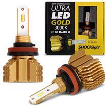 Par Lâmpadas Ultra LED Gold H8 3000K 12V 24V 35W 8000LM Luz Amarela Aplicação Farol Carro Moto - Shocklight