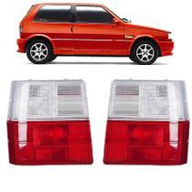 PAR Lanterna Traseira Fiat Uno 1985 até 2004 Vermelho/Cristal - Mikron