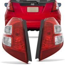 Par Lanterna Traseira Honda Fit 2009 2010 2011 2012 2013 2014 Bicolor Cristal - Kit Prime