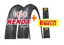 Par Pneu Bike Kenda K90 Aro 26x1.95 Slick + 2 Camaras Pirelli -
