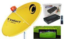 Parabólica Digital 1,50 Chapa Century, Multiponto, Rec Digital HD Century Mídia Box B3, Kit Cabo + conectores -
