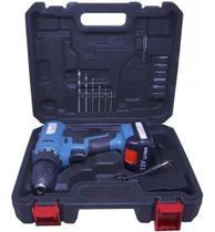 Parafusadeira Furadeira Elétrica Sem Fio Bateria 12V Recarregável Maleta Importway IWFP-012A Bivolt -