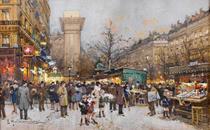 Paris, Portal de Saint Denis - Eugène Galien - Tela 30x49 Para Quadro - Santhatela